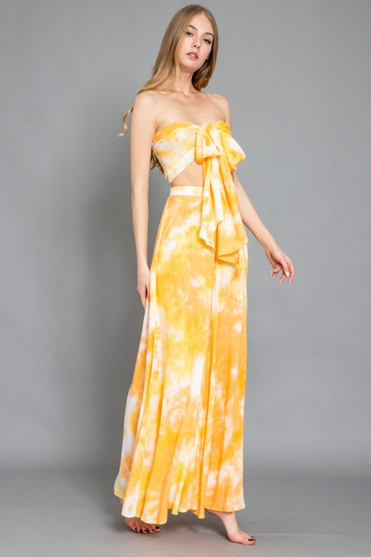 Yellow tie dye strapless set with pants