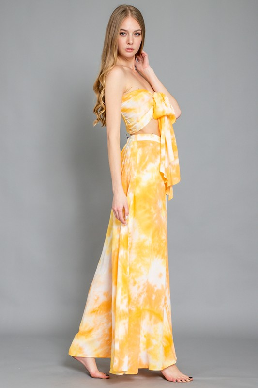 Yellow loose pants with tie dye print