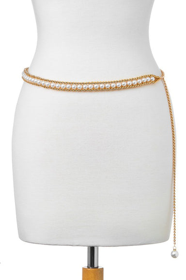 Gold & Pearl Chain Belt