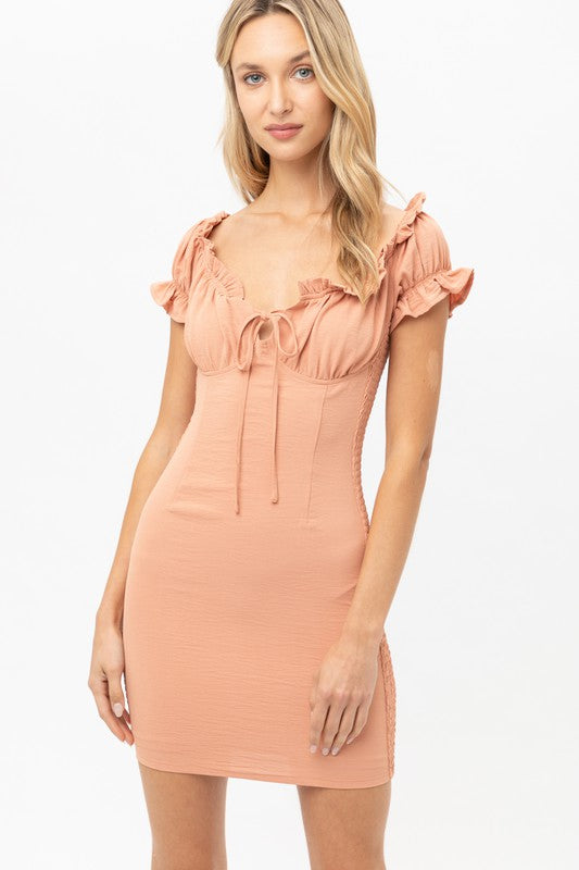 Clay Smocked Off Shoulder Dress