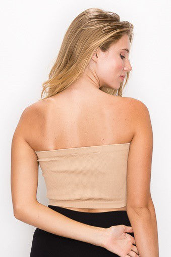 Nude Ribbed Tube Top