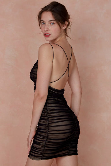 Black Mesh Ruched Dress with crisscross back for a club dress.