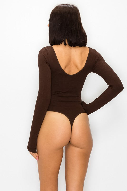 Brown Seamless Long Sleeve Bodysuit