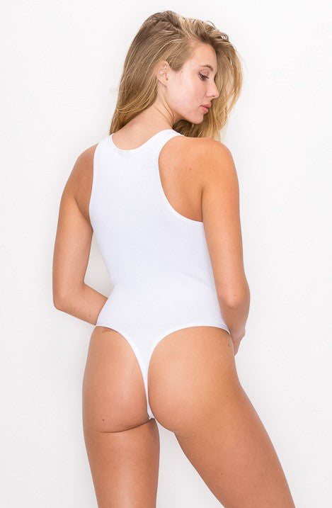 WHITE SLEEVELESS HALTER NECK RIBBED BODYSUIT