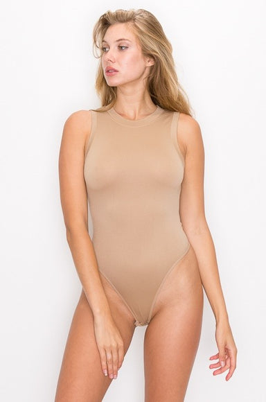Mocha Round Neck Sleeveless Bodysuit