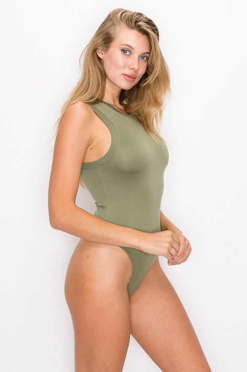 Olive Round Neck Sleeveless Bodysuit