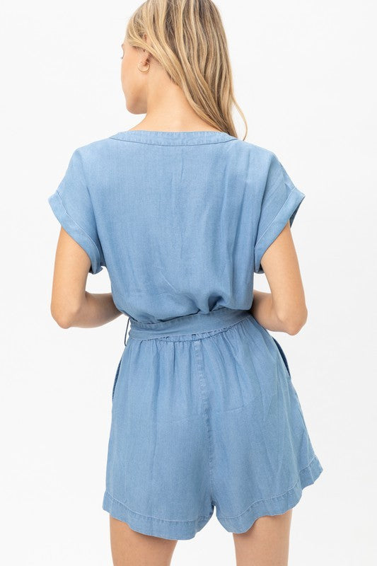 Button Down Belted Romper