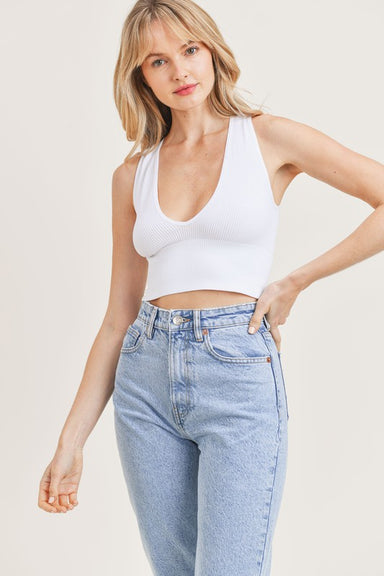 White Plunge Neck Crop Top
