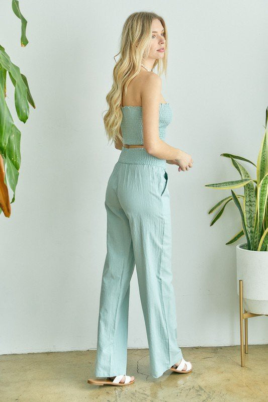 Sage Tube Top Pants Set