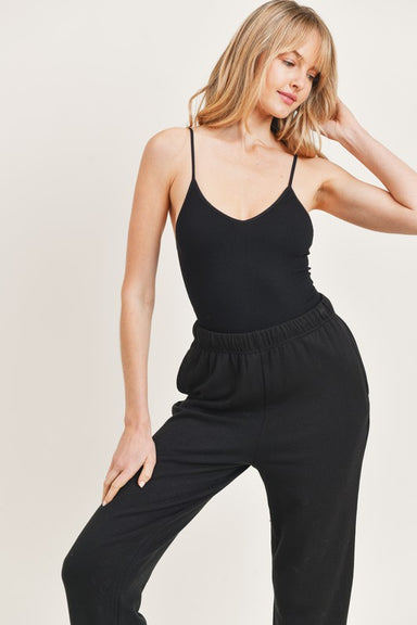 Black Sleeveless Cami Bodysuit