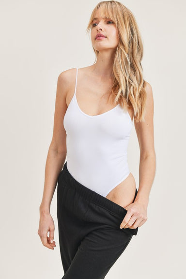 White Sleeveless Cami Bodysuit