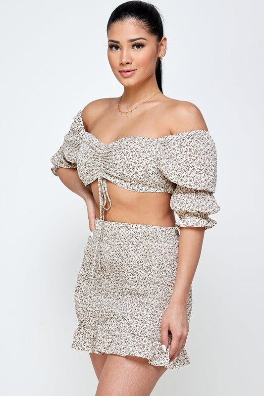 Beige Smocked Crop Top Skirt Set