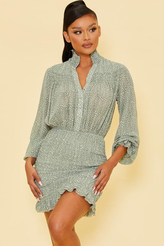 Sage Leopard Shirt Scrunch Dress
