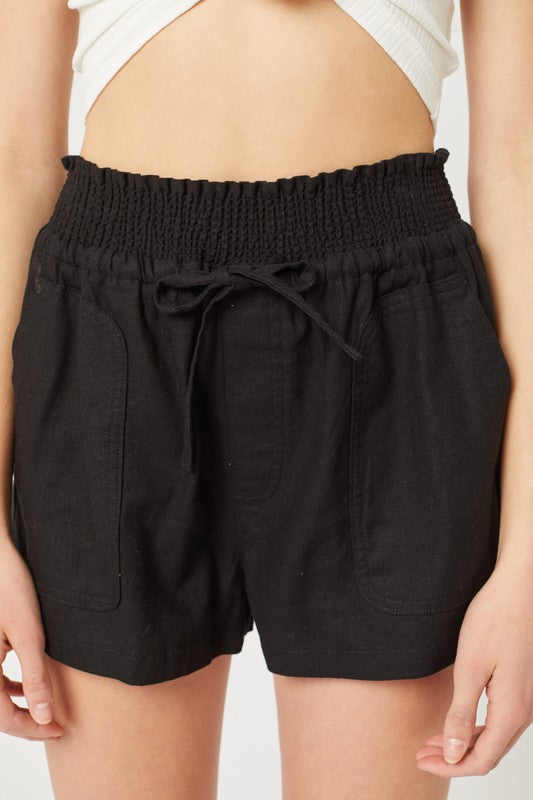 Black Belted Linen Loose Shorts