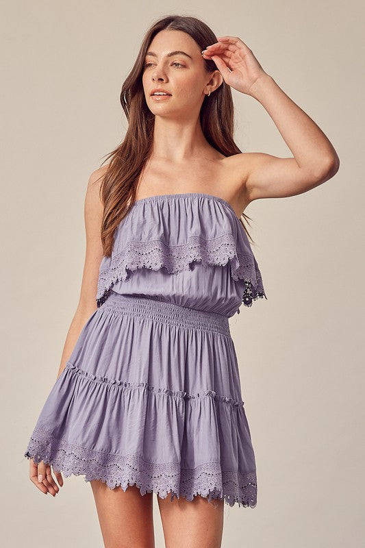 Lavender Tube With Trim Detail Dress