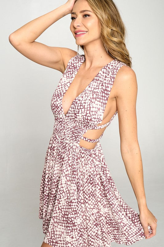 Wine Athena Print Flowy Dress