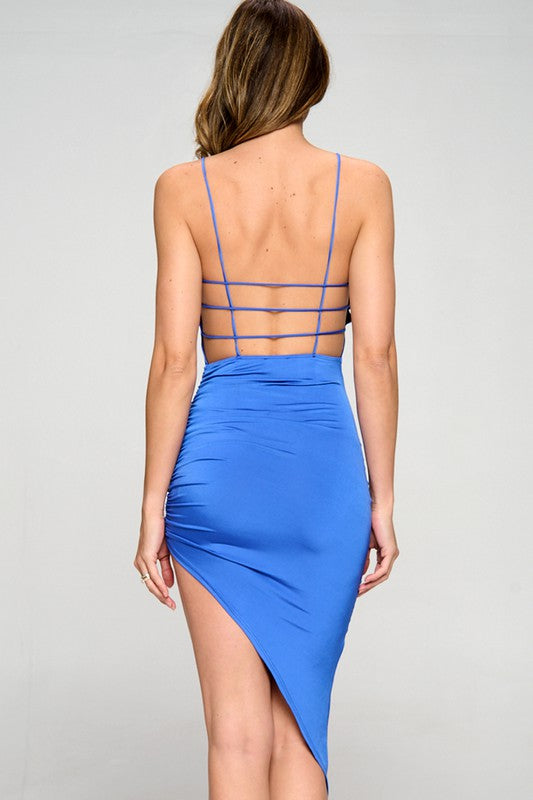 Royal Blue Side Ruched Dress