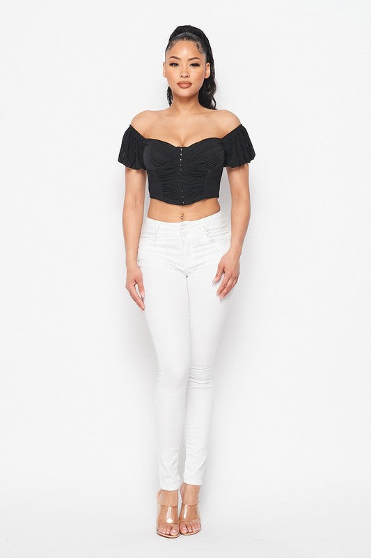 Black Corset Cropped Top