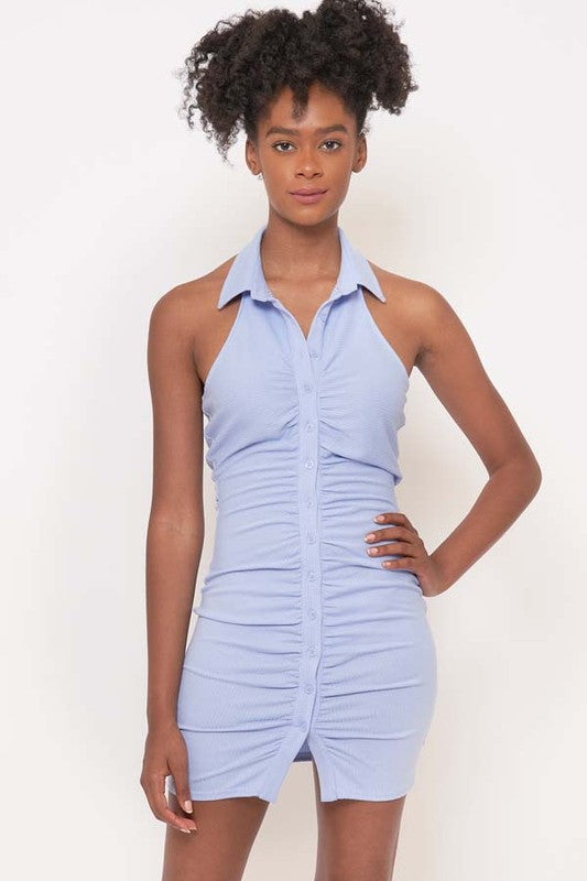 Baby Blue Halter Button Down Dress