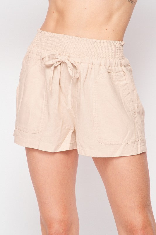 Khaki Belted Linen Loose Shorts