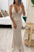 Champagne Open Back Scrunch Gown
