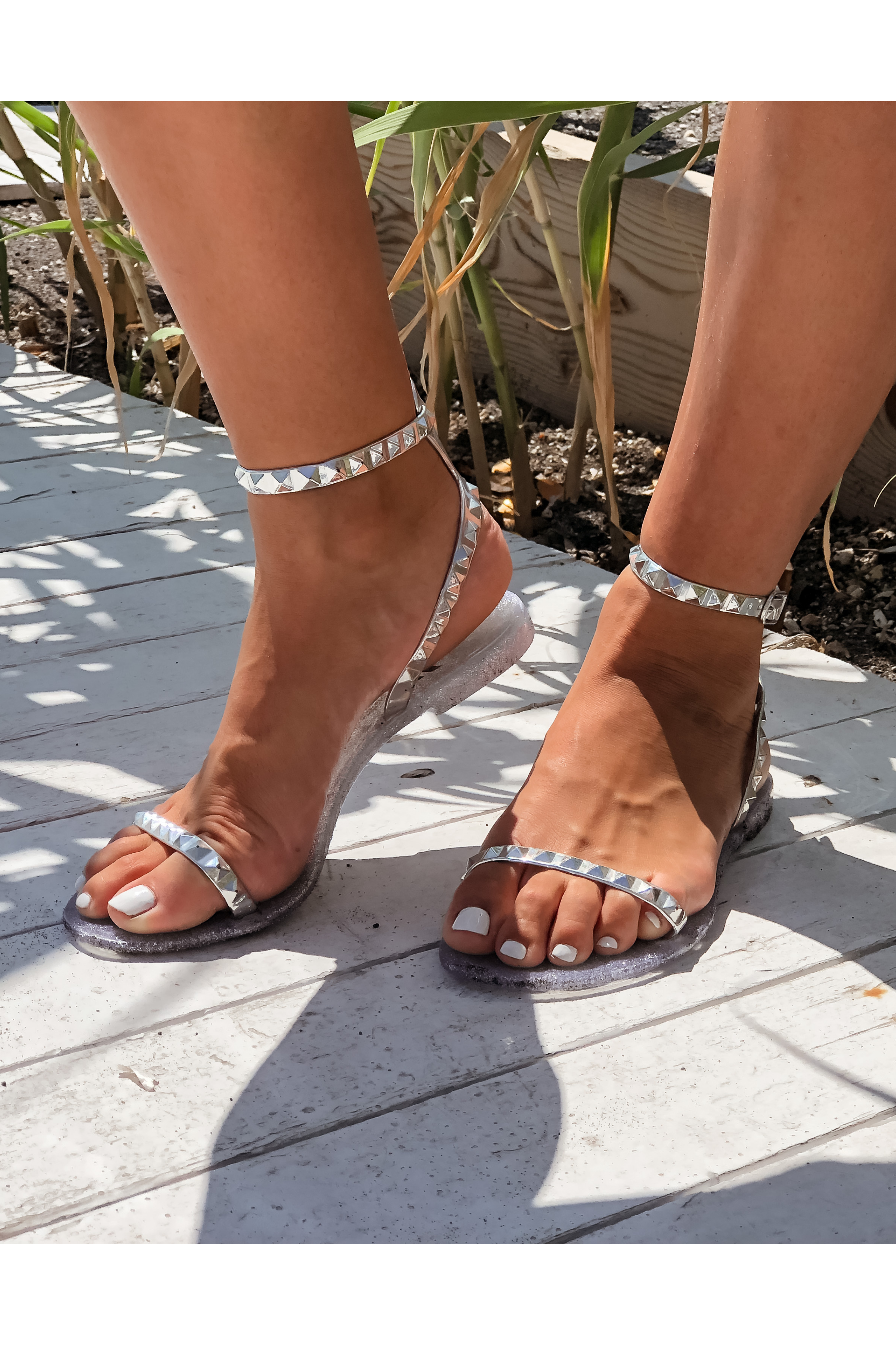 Silver Jelly Ankle Strap Studded Sandals by Alexandria Brandao Shoes.