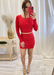 Red Heavy Rib Mini Skirt