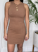 Nude Ribbed Round Neck Mini Dress