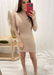 Beige Mock Neck Scrunch Dress