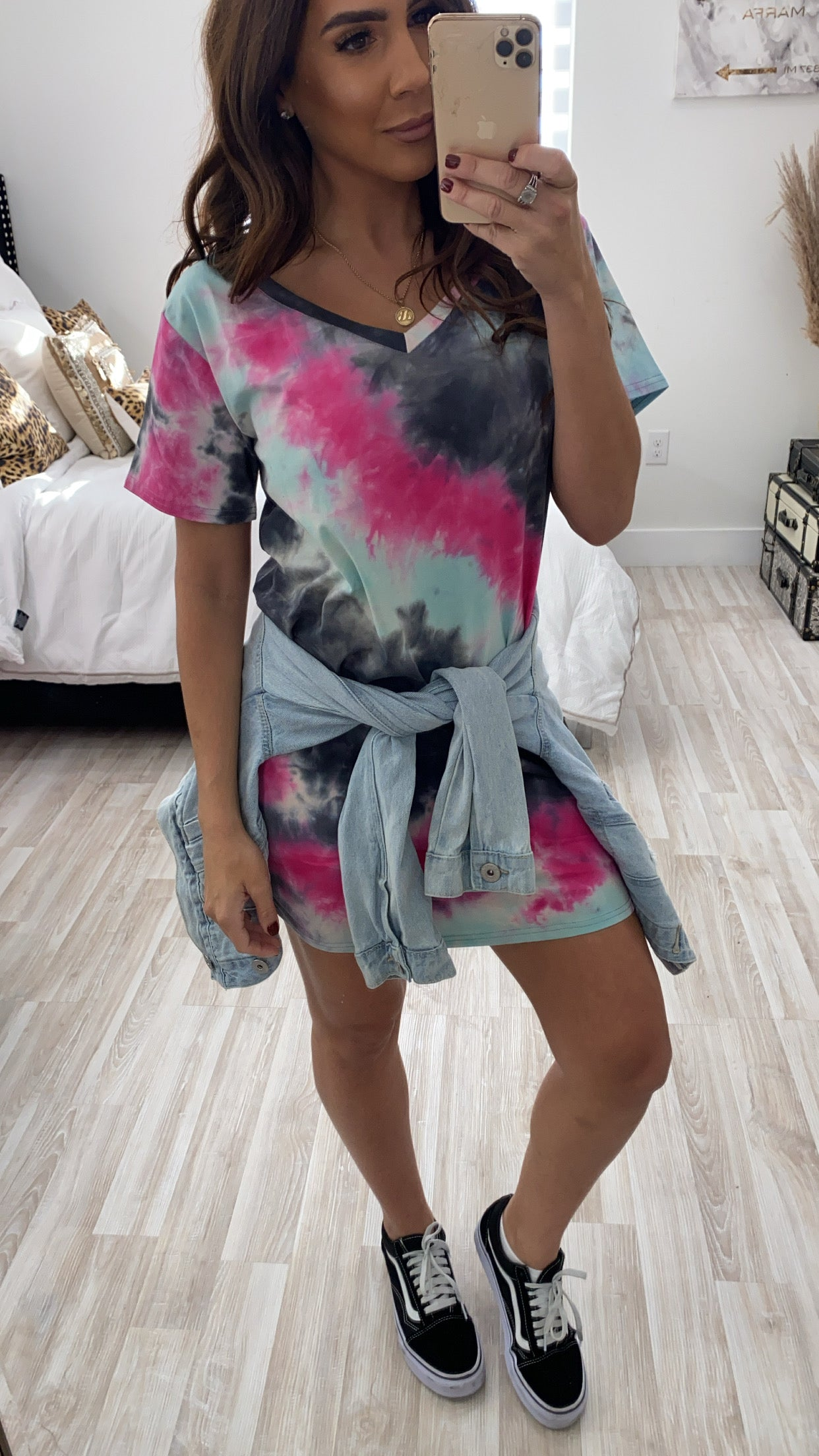 GREY TIE DYE V NECK T-SHIRT DRESS