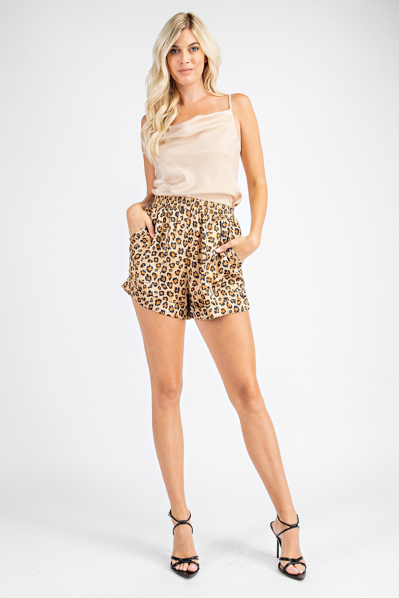 Champagne Satin Cowl Neck Cami with cheetah shorts for a saturday night.