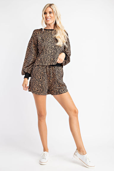 Zebra Print Jacquard Sweater Top WITH MATCHING SHORTS
