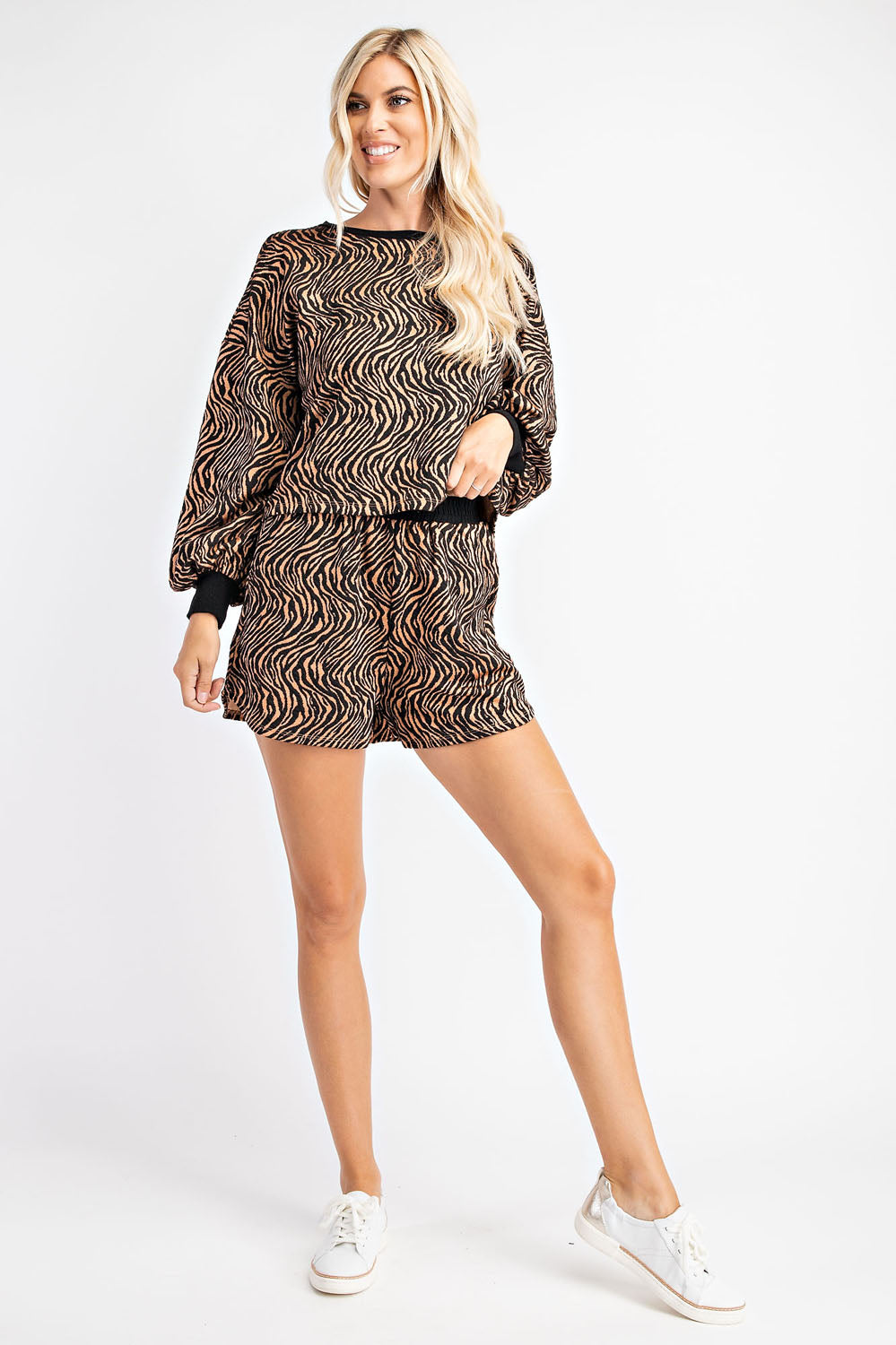 Zebra Print Jacquard Shorts with set sweater top