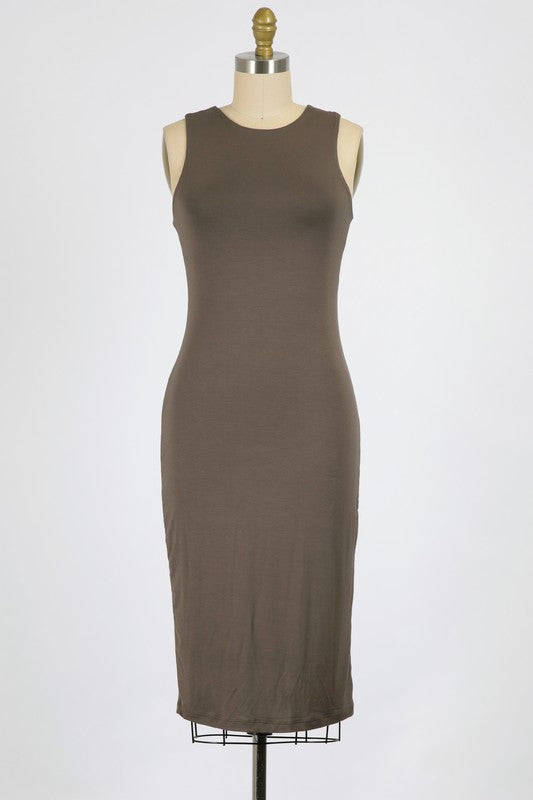 Taupe Fitted Solid Knit Sleeveless Dress