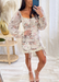 Ivory Floral Off Shoulder Chiffon Ruched Dress