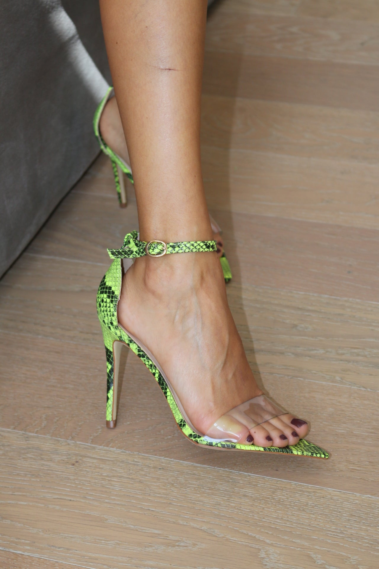 NEON YELLOW SNAKE STRAPPY HEEL