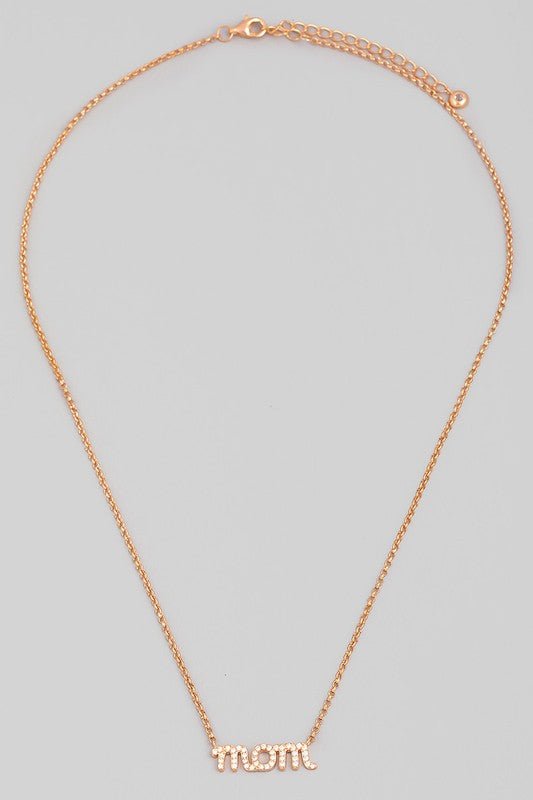 Rose Gold Mom Pendant Necklace
