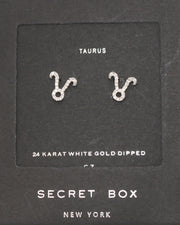 TAURUS SILVER STUDS DIAMOND EARRINGS