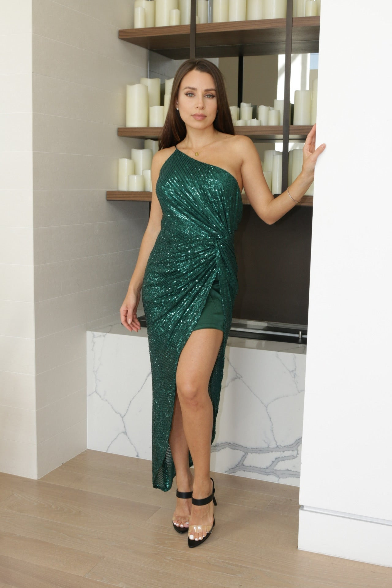 Emerald One Shoulder Sequin Gown