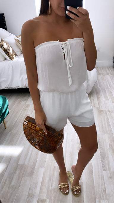 WHITE TUBE ROMPER WITH FRONT SPAGHETTI DETAIL