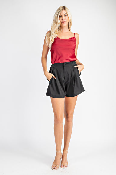 Red Satin Cowl Neck Cami