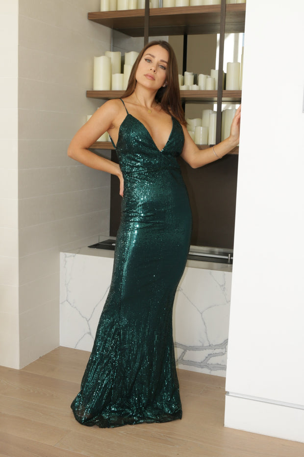 SOLID SEQUIN MERMAID DRESS