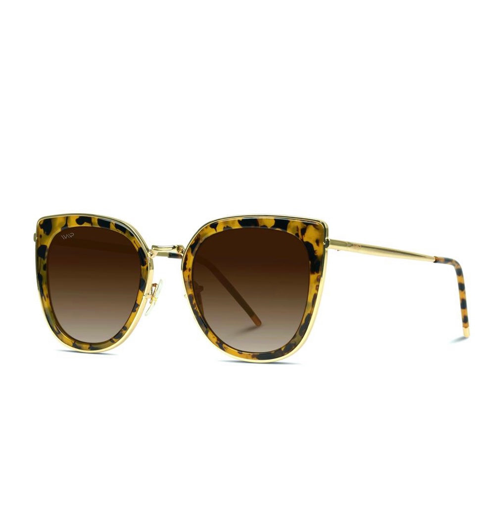 Gold and Blaze Tortoise Oversized Women's Cat-Eye Sunglasses