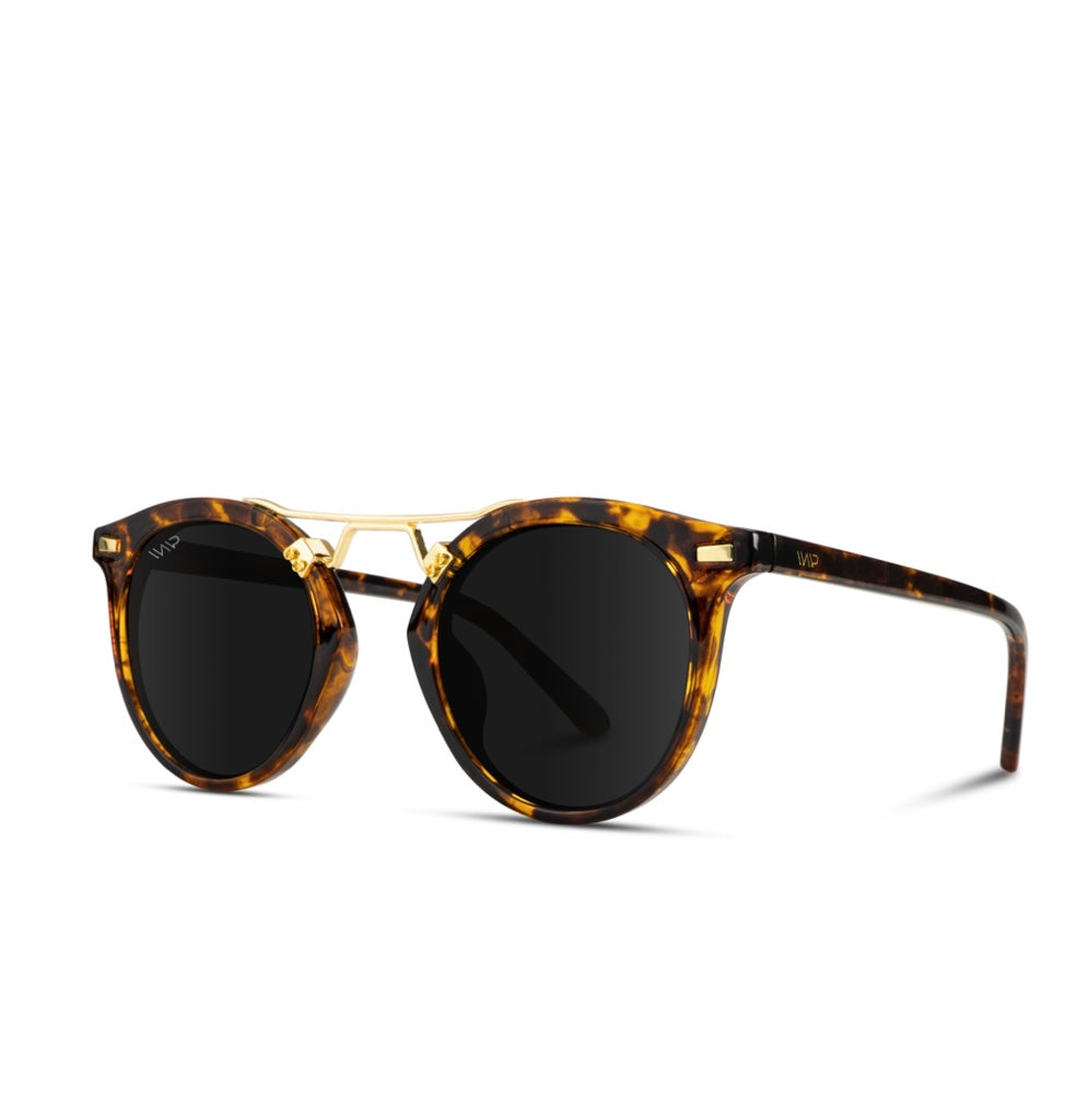 Tortoise Frame Black Lens Round Metal Bridge Sunglasses