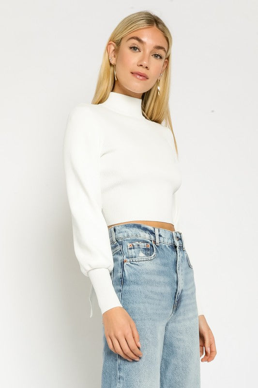 White Mock Neck Open Back Top