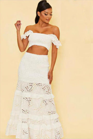 White Lace Long Skirt Set