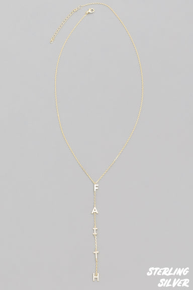 Gold Sterling Silver Faith Necklace