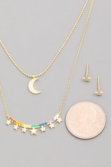 Gold Sterling Silver Rainbow Curved Bar Necklace Set
