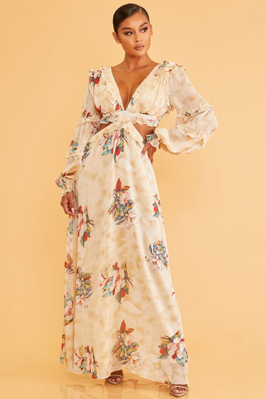 CREAM FADED FLORALS LACE UP MAXI DRESS