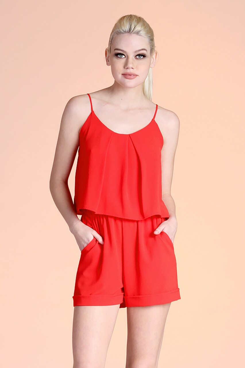 RED TEXTURED SOLID TUCK PLEAT CAMI ROMPER